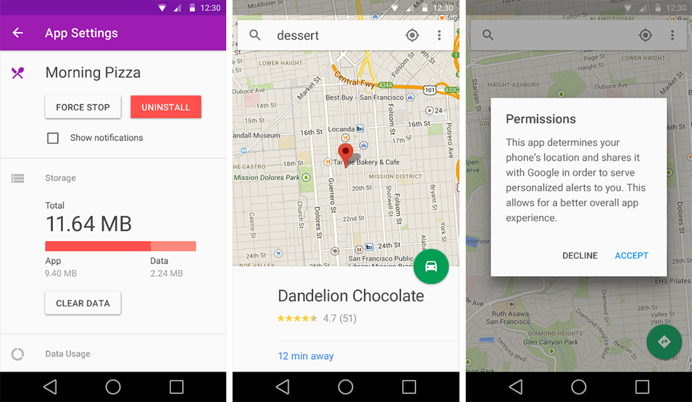 material design screenshots